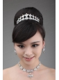 Boeknot Shape Rhinestone Jewelry Set Including Necklace Crown And Earrings