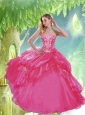 Cheap Sweetheart Beading and Pick-ups Quinceanera Dresses in Hot Pink