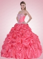 Custom Made Watermelon Quinceanera Dress with Appliques