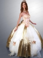 Embroidery White and Gold Hand Made Flowers Quinceanera Dress