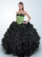 Exclusive Black and Green Quinceanera Dress with Appliques and Ruffles
