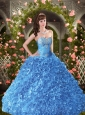 Exclusive Blue Sweetheart Beading and Ruffles Quinceanera Dresses