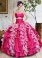 Exquisite Hot Pink Quinceanera Dresses with Ruffled Layers and Beading