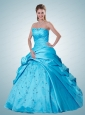 Fashionable Ruching Strapless Quinceanera Dresses in Aqua Blue