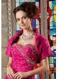 Gorgeous Short Sleeves and Open Front Quinceanera Jacket in Hot Pink