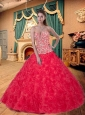 Modest Sweetheart Appliques Decorated Quinceanera Dress in Red