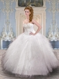 Modest Sweetheart White Quinceanera Dresses with Appliques and Ruffles