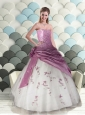 Perfect A-Line Strapless Appliques White and Purple Dress For Quinceanera