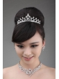 Rhinestone Wedding Jewelry Set Including Necklace  Earrings And Crown With Bowknot