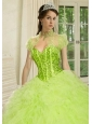 The Brand New Style  Beading and Ruffles Quinceanera Jacket in Spring Green