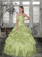 The Super Hot Appliques and Beading Quinceanera Gown in Yellow Green