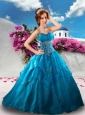 Unique Sweetheart Teal Blue Sweet Sixteen Quinceanera Dresses with Appliques and Ruffles