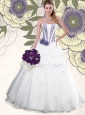 White Strapless Hand Made Flowers Organza Quinceanera Gown