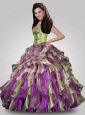 Wonderful Sweetheart Appliques and Ruffles Multi-color Quince Dresses