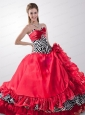 2015 Classical  Sweetheart Red Sweet 16 Dresses with Hand Made Flower and Ruffles