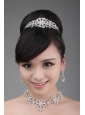Alloy With Luxurious Rhinestone Jewelry Set Including Crown Necklace And Earrings
