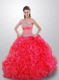 Beautiful Beading and Ruffles Coral Red Quince Dresses For 2015