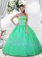 Custom Made Embroidery and Beading Green Dress For Quinceanera