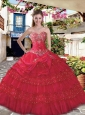 Custom Made Red Quince Dress with Appliques and Ruffles Layers