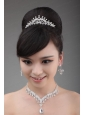 Dreamlike Rhinestone And Alloy Jewelry Set with Crown Necklace And Earrings