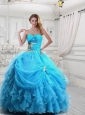 Elegant Organza Appliques Aqua Blue Quinceanera Dress with Sweetheart