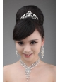 Elegant Rhinestone And Pearl Jewelry Set Including Necklace Earrings And Crown