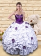 Exquisite White and Purple Quinceanera Dress with Hand Made Flower and Pick-ups