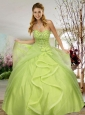 Fashionable Sweetheart Yellow Green Quinceanera Dresses with Beading