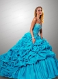 Gorgeous Sweetheart Beading and Pick-ups Quinceanera Dress in Teal