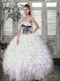 Latest Beading and Ruffled Layers White and Black Quince Dress