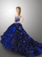 Luxurious Ball Gown Sweetheart Navy Blue Quinceanera Dresses with Beading