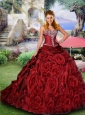 Most Popular Wine Red Quinceanera Dress with Beading and Rolling Flowers