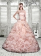 One Shoulder Beading and Ruffles Quinceanera Dress in Baby Pink