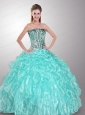 Romantic Strapless Beaded and Ruffled Quinceanera Dress in Aque Blue
