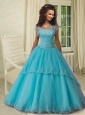 Strapless Aqua Blue Quinceanera Gown with Lace Appliques