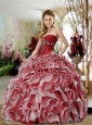 Sweetheart Red and White Quinceanera Dresses with Appliques and Ruffles