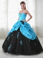Wonderful Aque Blue Sweetheart Sweet 15 Dress with Beading and Pick Ups