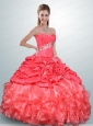 Inexpensive Watermelon Red Quince Dress with Beading and Pick Ups For 2015