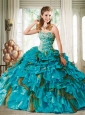 2015 Customize Sweetheart Teal Quinceanera Dress with Beading and Ruffles