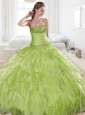 2015 Exquisite Green Quinceanera Dresses with Appliques and Pick Ups