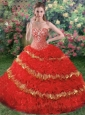 2015 Luxurious Sweetheart Appliques and Ruffles Quinceanera Dress in Red
