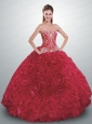 2015 Most Popular Red Quinceanera Dress with Appliques and Ruffles