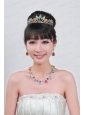 Imitation Pearl Jewelry Set Including Necklace And Tiara