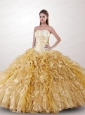Remarkable Beading and Ruffles Quinceanera Dress in Gold