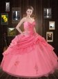 The Most Popular Sweetheart Watermelon Red Quinceanera Dress with Ruffles and Appliques