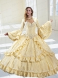 The Super Hot Champagne Dress For Quinceanera with Appliques and Ruffles