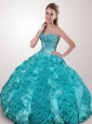 Wonderful Beading and Ruffles Sweet 15 Dress in Teal For 2015