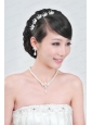 Elegant Alloy With Pearl Wedding Jewelry Set Including Necklace Earrings And Headpiece