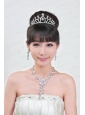 Elegant Alloy With Rhinestone Ladies' Necklace and Tiara