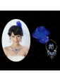 Beautiful Rhinestone and Feather Head Flower and Necklace